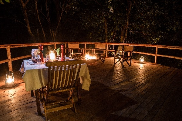 Offbeat Mara - dinner on the forest deck kenya
